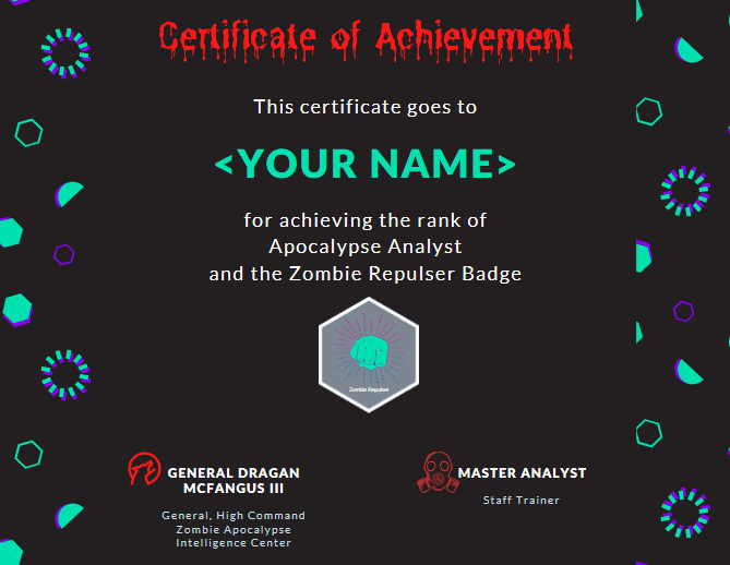certificate of achievement zombies 1